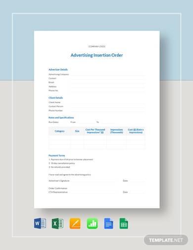 advertising insertion order sample