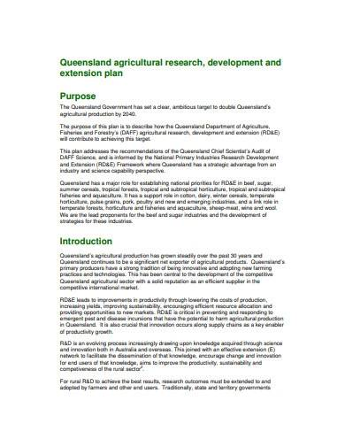 agricultural research development plan