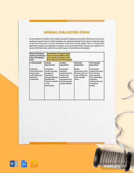 annual evaluation form template