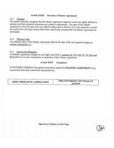 army research and development agreement
