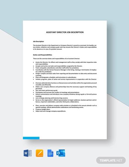 assistant director job description template