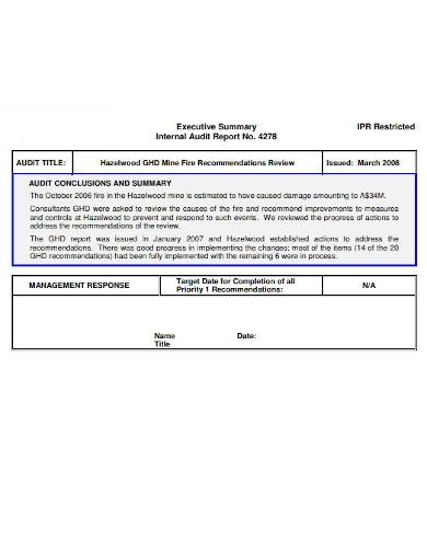 audit report executive summary
