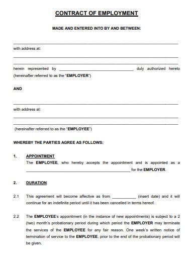 bakeries employment agreement