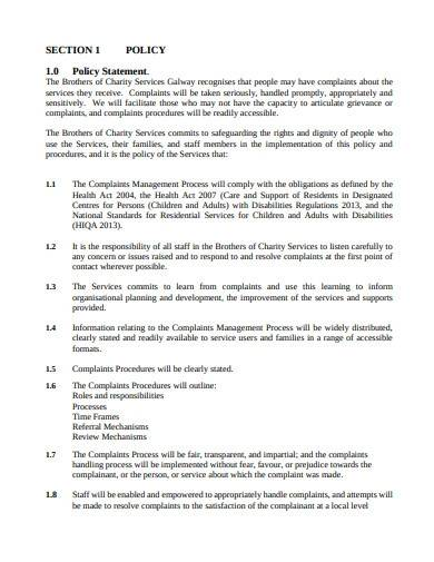 basic charity complaints procedure policy