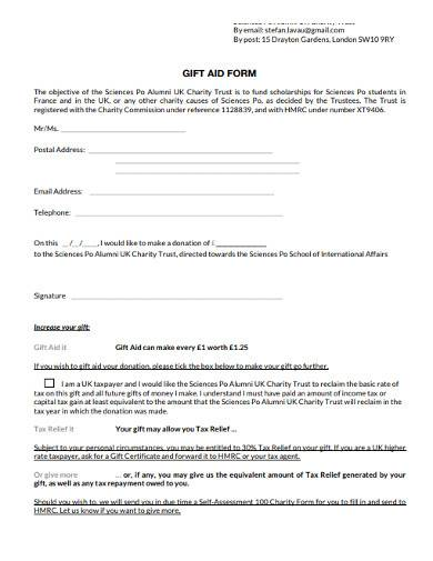 basic charity gift aid form template