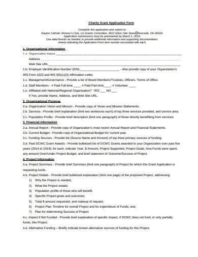 basic charity grant application form
