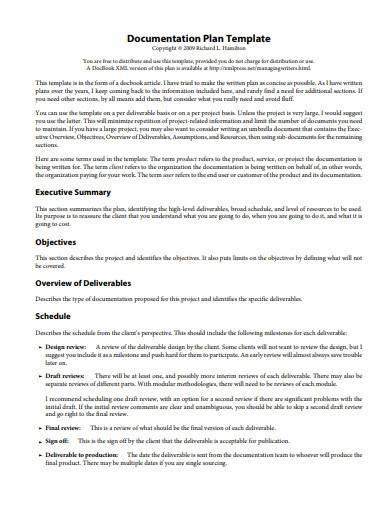 basic documentation plan template