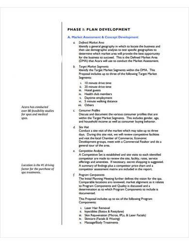 basic spa business plan template