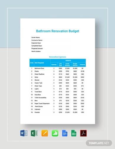 bathroom renovation budget template