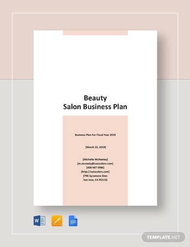 beauty salon business plan sample