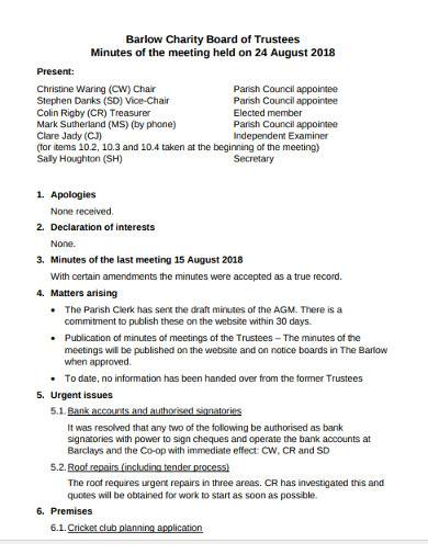 board of trustees meeting minutes template