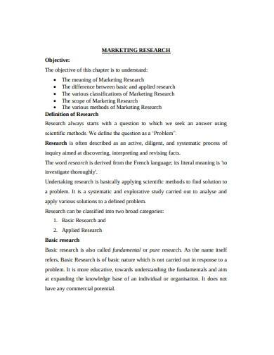 business marketing research plan sample