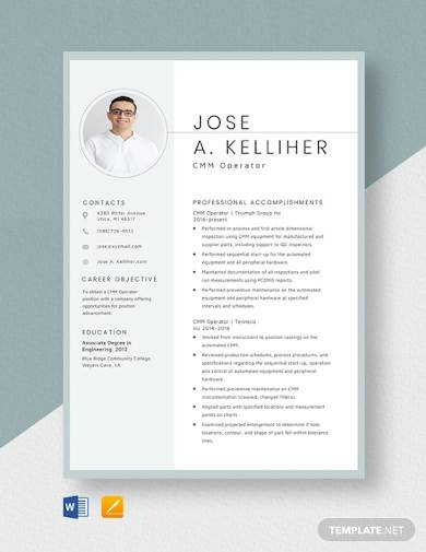 cmm operator resume template