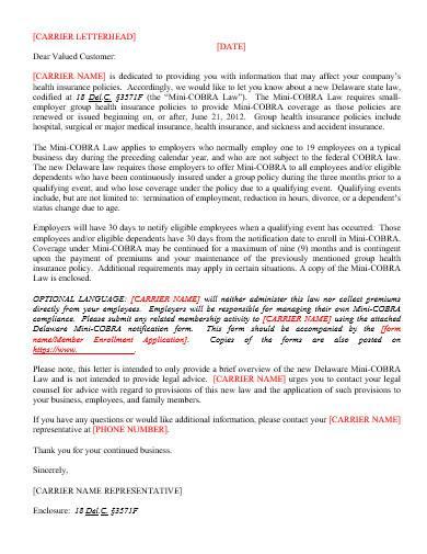 carrier letterhead sample