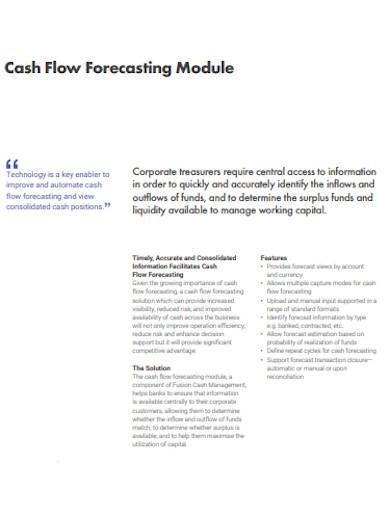 cash flow forecasting module template