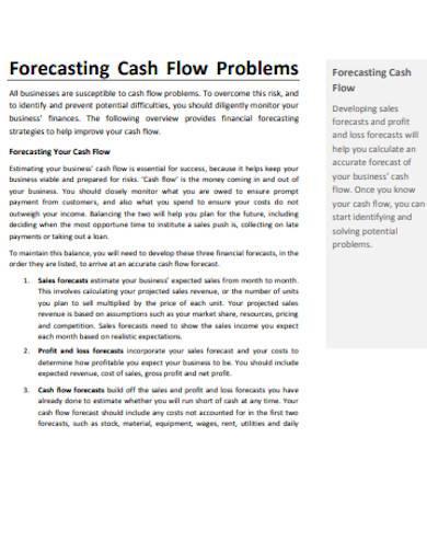 cash flow forecasting problems template
