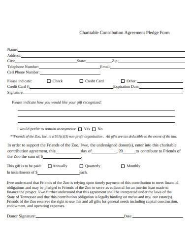 charitable contribution agreement pledge form