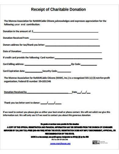 charitable donation receipt sample