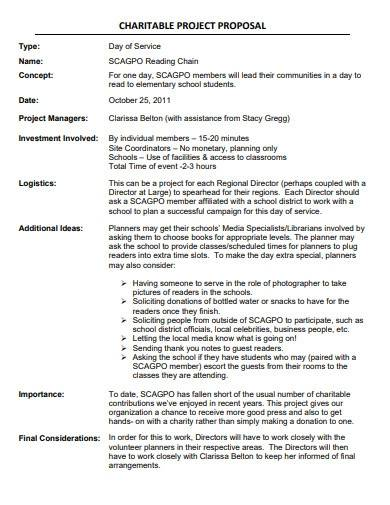 charitable project proposal template