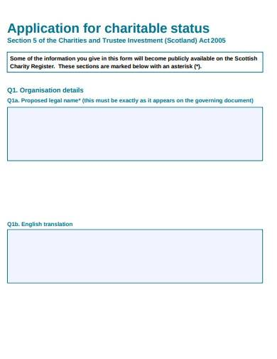 charitable status commission application form