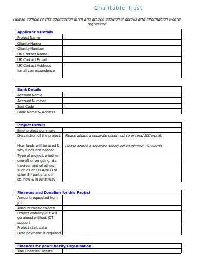 charitable trust commission application form