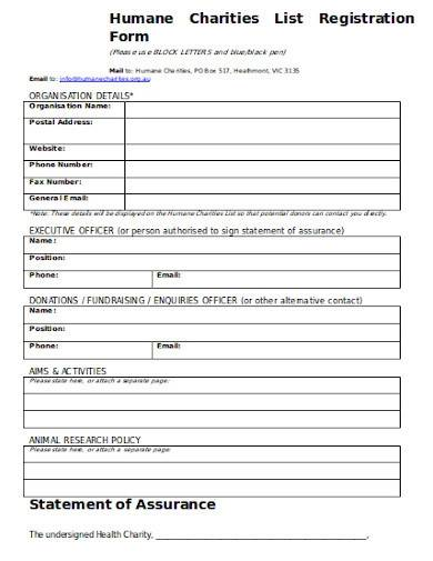 charities list registration form template