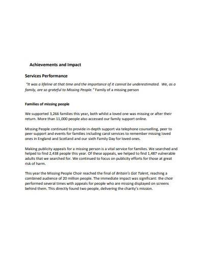 charity achievements and impact report