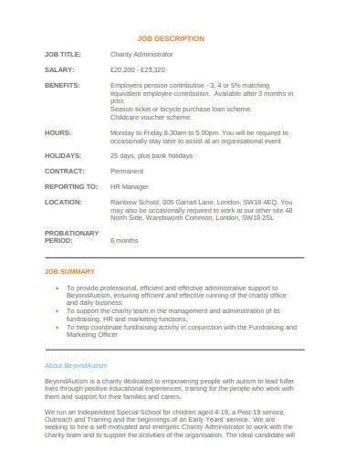 charity administrator job description template
