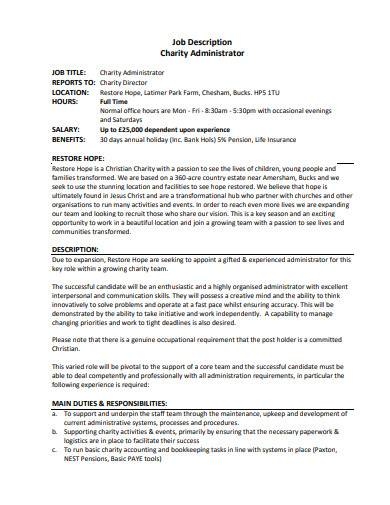 charity administrator job description