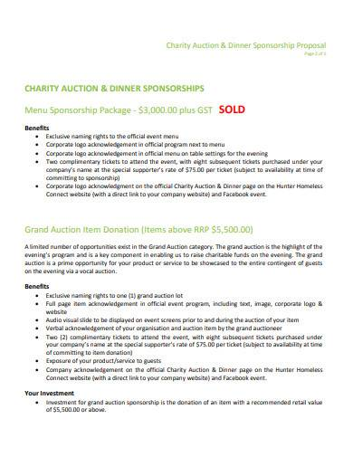 charity auction dinner sponsorship proposal