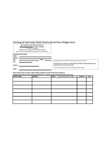 charity barrel race pledge form