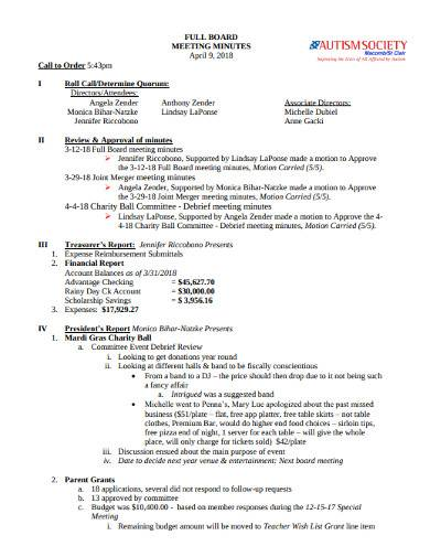 charity board meeting minutes template