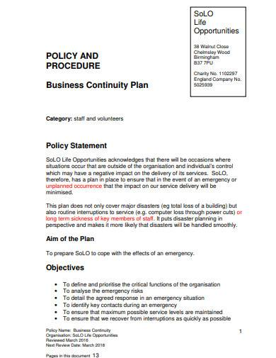 charity business continuity plan template
