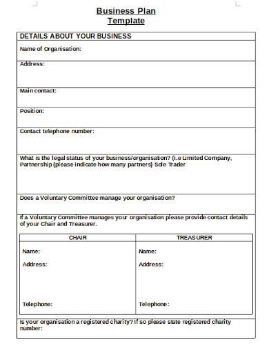 charity business plan template