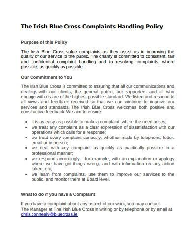 charity complaints handling policy sample
