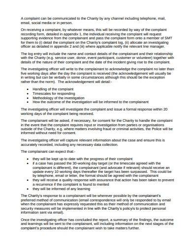 charity complaints procedure policy template