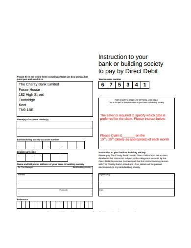 charity direct bank debit form sample
