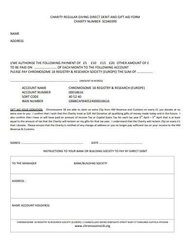 charity direct debit gift aid form