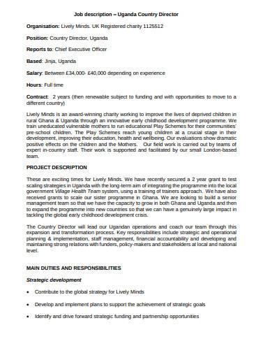 charity director job description