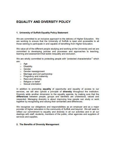 charity diversity equality policy template