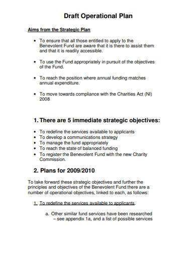 charity draft operational plan template