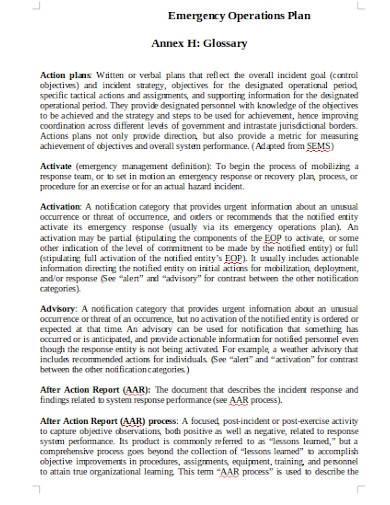 charity emergency operational plan
