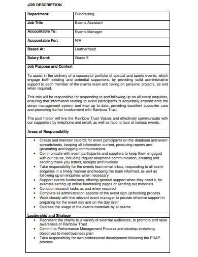 charity event assistant job description