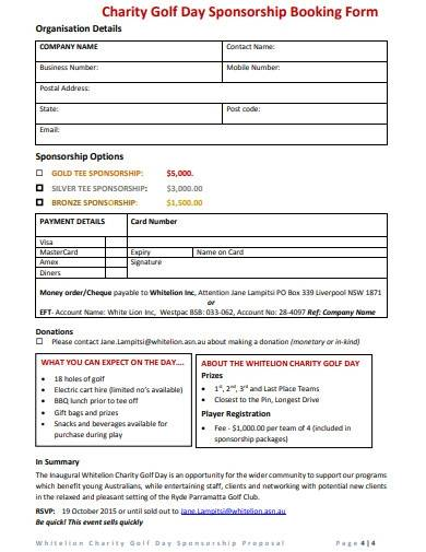 charity event sponsorship booking form