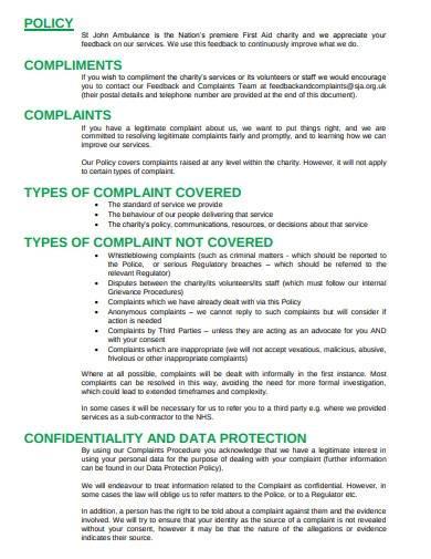 charity feedback complaints procedure policy