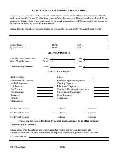 charity financial hardship application