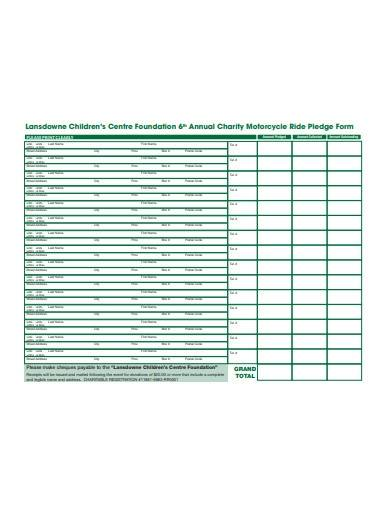 charity foundation pledge form template