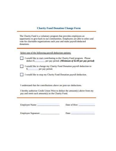 charity fund donation change form