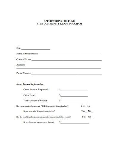 charity fund grant application form sample