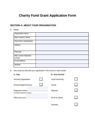 charity fund grant application form
